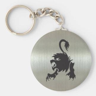 Leo Lion Silhouette on Metallic Effect Key Chain