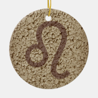 leo round ceramic decoration