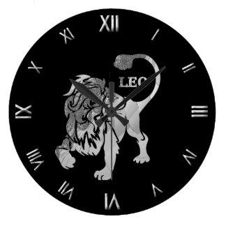 Leo Silver Zodiac Symbol Wall Clock