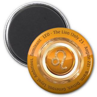 LEO - The Lion Astrological Sign 6 Cm Round Magnet