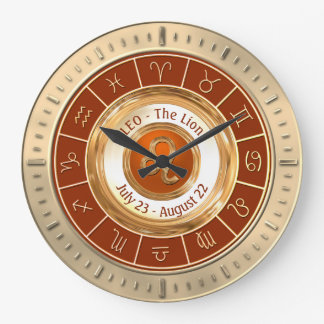 LEO - The Lion Astrological Sign Large Clock
