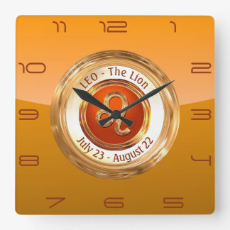 LEO - The Lion Zodiac Sign Square Wall Clock