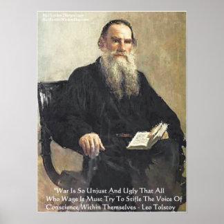 """Leo Tolstoy """"War Is Unjust"""" Wisdom Quote Poster Poster"""