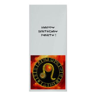 LEO TOPAZ ,  bright yellow red orange silver 10 Cm X 24 Cm Invitation Card