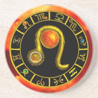 LEO ZODIAC BIRTHDAY JEWEL Yellow Topaz,Gold ,red Drink Coaster