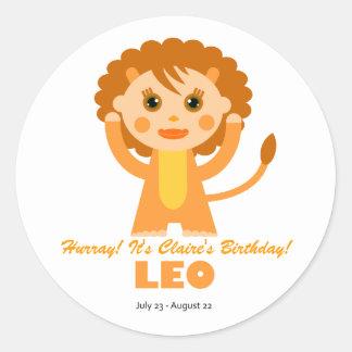 Leo Zodiac for Kids Round Sticker