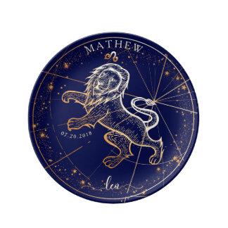 Leo Zodiac Full Navy Blue & Gold Birth Plate