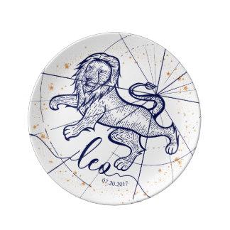 Leo Zodiac Navy Blue & Gold Birth Plate