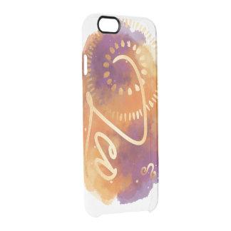 Leo Zodiac Orange, Purple, Gold Watercolour Galaxy Clear iPhone 6/6S Case