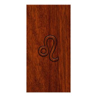 Leo Zodiac Sign in Mahogany wood style Personalised Photo Card