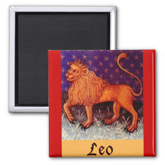 Leo Zodiac Sign Square Magnet