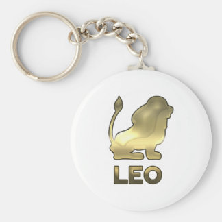 Leo zodiac sign - old gold edition basic round button key ring