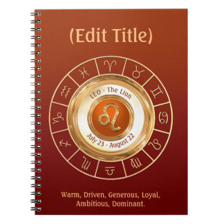 LEO Zodiac Sign Personality Traits Notebook
