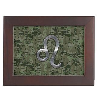 Leo Zodiac Symbol on Woodland Digital Camo Memory Boxes