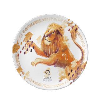 Leo Zodiac Watercolour Artistry Plate