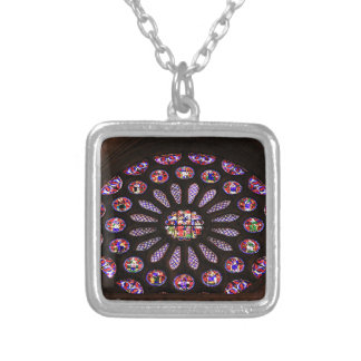 Leon Cathedral window, El Camino, Spain Silver Plated Necklace