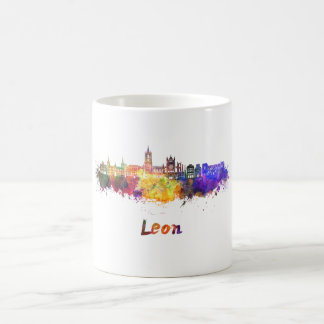 Leon skyline in watercolor coffee mug