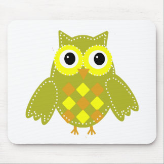 Leon the Lime Green Adorable Owl Mouse Pad