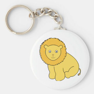 Leon the Lion Cute Cartoon Cat Basic Round Button Key Ring