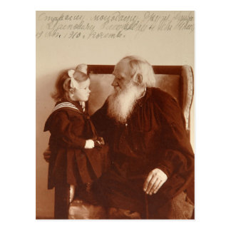 Leon Tolstoy with his granddaughter, Tatiana Postcard