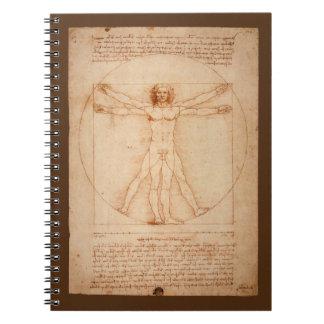Leonard Da Vinci Anatomy of Man Vitruvian Man Spiral Notebook