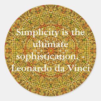 Leonardo da Vinci art quote Round Sticker