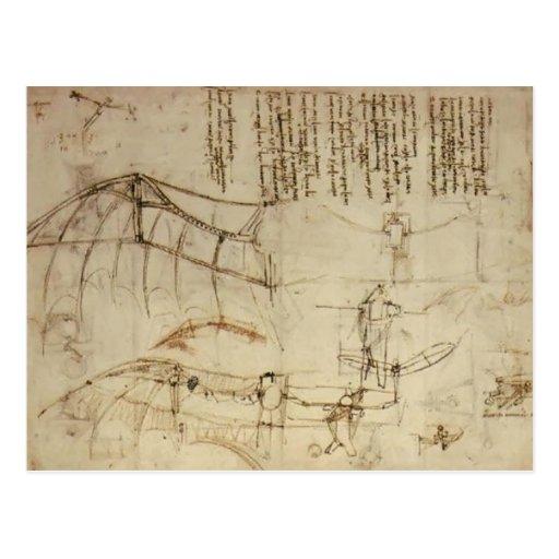 Leonardo da Vinci- Design for a Flying Machine Postcards