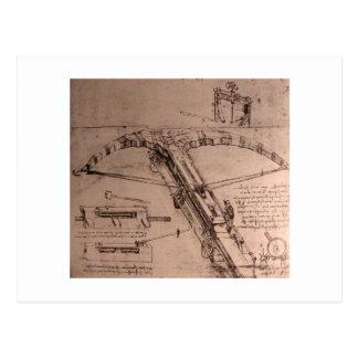 Leonardo da Vinci, design for an enormous crossbow Postcard