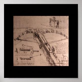 Leonardo da Vinci, design for an enormous crossbow Poster
