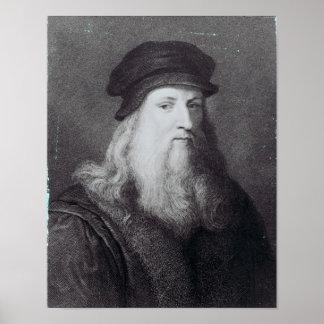 Leonardo da Vinci, engraved by Raphael Poster