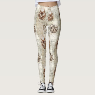 Leonardo Da Vinci Fetal Drawings Leggings