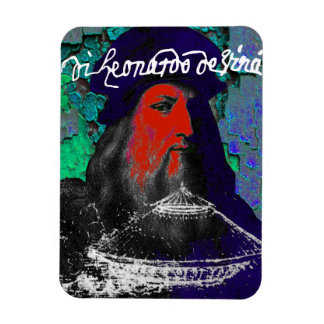 Leonardo Da Vinci Genius Mixed Media Collage Magnet