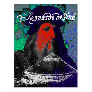 Leonardo Da Vinci Genius Mixed Media Collage Postcard