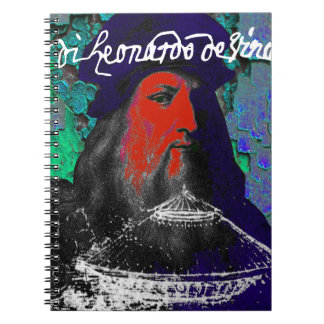 Leonardo Da Vinci Genius Mixed Media Collage Spiral Notebook