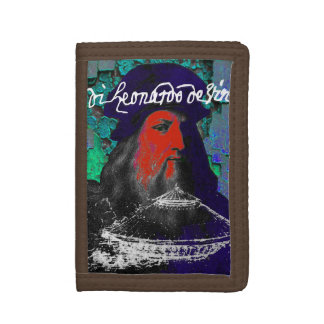 Leonardo Da Vinci Genius Mixed Media Collage Tri-fold Wallet