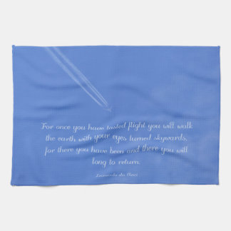 Leonardo Da Vinci inspirational flight quote Tea Towel