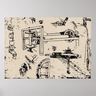 Leonardo da Vinci Inventions Drawing Posters