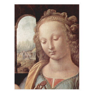 Leonardo da Vinci Madonna mit der Nelke, Detail: M Postcard