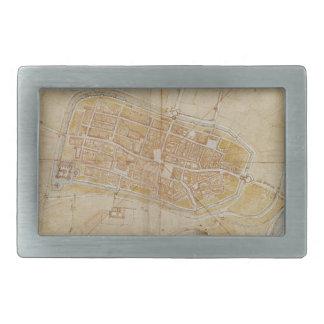 Leonardo da Vinci - Plan of Imola Painting Belt Buckle