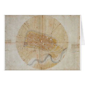Leonardo da Vinci - Plan of Imola Painting Card