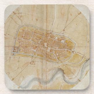 Leonardo da Vinci - Plan of Imola Painting Coaster