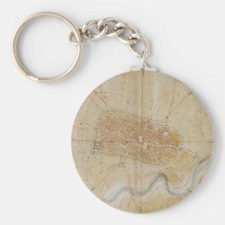 Leonardo da Vinci - Plan of Imola Painting Key Ring