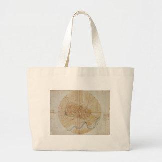 Leonardo da Vinci - Plan of Imola Painting Large Tote Bag