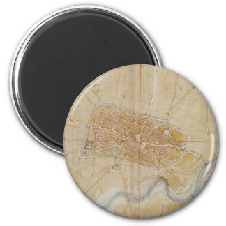 Leonardo da Vinci - Plan of Imola Painting Magnet