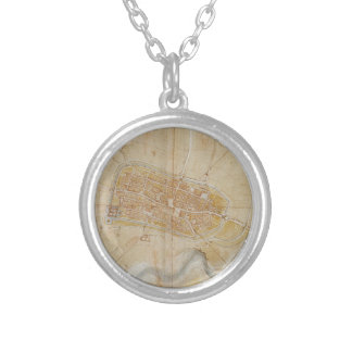 Leonardo da Vinci - Plan of Imola Painting Silver Plated Necklace