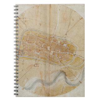 Leonardo da Vinci - Plan of Imola Painting Spiral Notebook