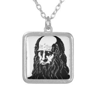 Leonardo da Vinci - portrait Silver Plated Necklace