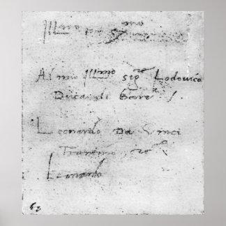 Leonardo da Vinci s handwriting Print