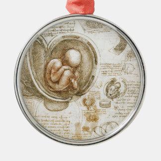 Leonardo da Vinci Studies of the Fetus in the Womb Metal Ornament