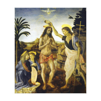 Leonardo da Vinci The Baptism of Christ Canvas Print